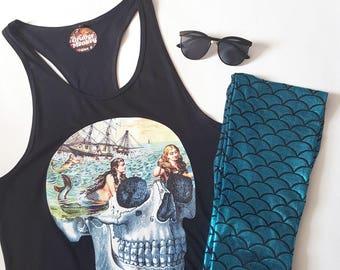 Mermaid Skull Tank Top Rockabilly Tank Top Rockabilly Vest Dress Mermaid Top Hipster Festival Clothing