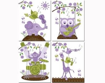 Music nursery art baby girl room wall decor toddler shower decoration elephant owl playing guitar giraffe monkey purple green violin drums