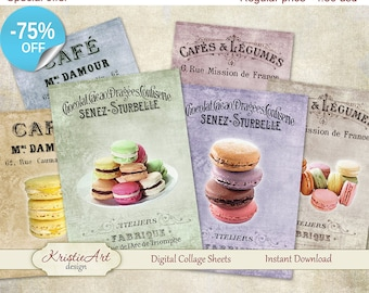 75% OFF SALE Macarons ATC Cards - Digital Collage Sheet Greeting Cards Printable download tags digital image cardmaking cooking collage tags