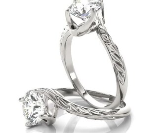 Forever Brilliant Moissanite Twisted Swirl Prong Solitaire, Engraved Band Engagement Ring