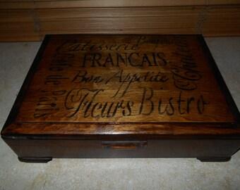 Upcycled Vintage Wood Silverware Box