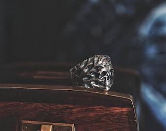 Skull Horror Ring 925 Silver Big Biker and Rocker Ring