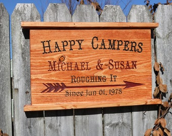 Happy Campers Wedding Anniversary Engraved Sign / Plaque