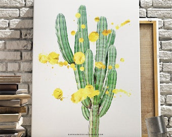Modern Cactus PRINTABLE, Cactus Wall Art, Desert Art, Gold Splatter, Printable Cactus, Digital Download, Modern Nursery, Gardener Gift idea