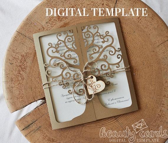 Cricut Explore Wedding Invitations: Tree Wedding Invitation Card Laser Cut Template Cricut Ai