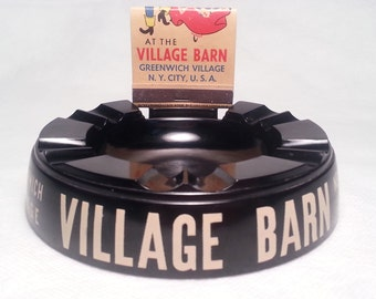 "1950's Village Barn, Greenwich Village, New York City, U.S.A. Ashtray , Made in the U.S.A., with Full 21 ""Feature"" Matchbook"