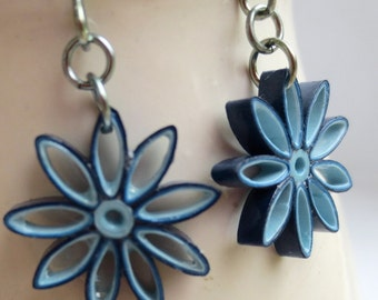 Blue Ombre Nine Pointed Star Earrings Eco Friendly Earrings Paper Quilling bridesmaid gift Baha'i Jewelry Hypoallergenic