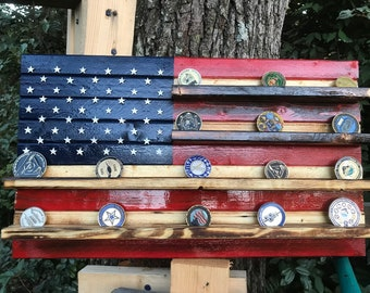 13 X 23 Mini American flag challenge coin holder. 35-45 coins.