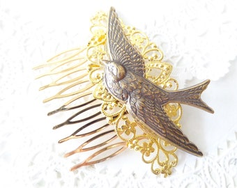 Gold Flying Sparrow Hair Comb - Flying Swallow Hair Comb - Ox Brass Bird Hair Comb - Woodland Hair Comb - Bridal Sparrow Hair Comb