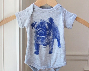 Baby shower gift for pug lover. Pug onesie for baby.  Pug puppy screen printed on a one-piece bodysuit for baby.