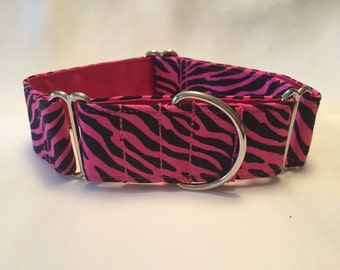 "1.5"" Pink Zebra Martingale Collar"