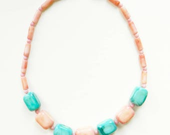 Mint and Coral Pastel Vintage Necklace / Beaded Pastel Necklace / Candy Delicious Summer Necklace