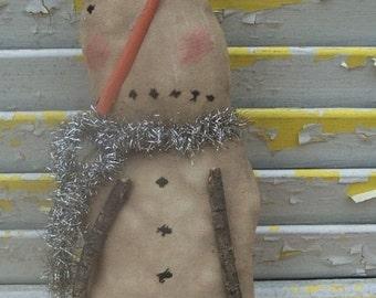 Primitive Christmas Snowman Sad Snow