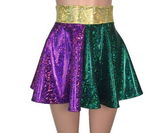 Mardis Gras Holographic High Waisted Skater Skirt - Clubwear, Rave Wear, Mini Circle Skirt