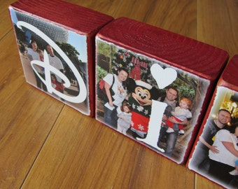DISNEY Photo Letter Blocks- set of 6 custom made photo blocks