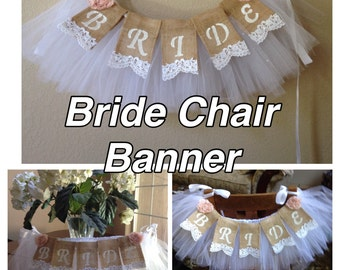 Bridal Veil Chair Garland with Bride Lace Banner Package,  Shabby Chic, Bridal Shower Decor, Wedding, Banner Garland