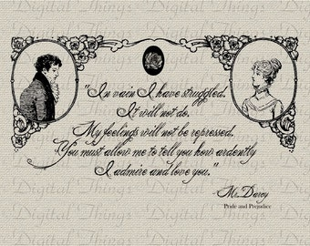MR DARCY PROPOSAL Jane Austen Pride and Prejudice Printable Digital Download for Iron on Transfer Fabric Pillows Tea Towels DT817