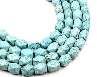 15-16mm Faceted Turquoise Cube Beads Green Turquoise Hexagon Beads Natural Turquoise Gemstone Semiprecious Beads 15'' Strand