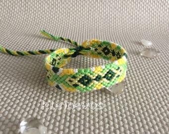 Macrame knotted friendship bracelet, green, yellow, cotton, knotted bracelet, macrame bracelet, colorful bracelet