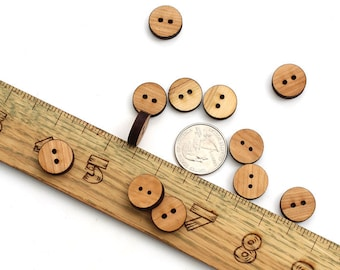 Solid Wood Mini Buttons - Laser Cut Itsies - Bag of 12 Buttons - 5/8 Inch - Made from Black Cherry Wood - Sustainable Forestry Products