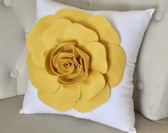 Mellow Yellow Rose on White Pillow