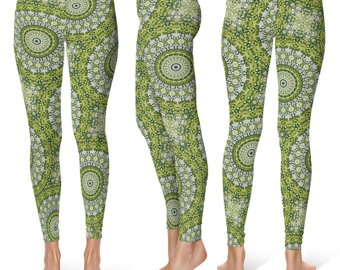 Snake Leggings Yoga Pants, Printed Yoga Tights for Women, Green Mandala Pattern