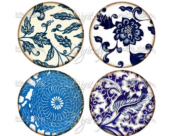 CHINESE BLUE FLORAL (13) Digital Collage Sheet - Circles 2.5 inch - 63mm with Asian Blue Porcelain for Pocket Mirror - Instant Download