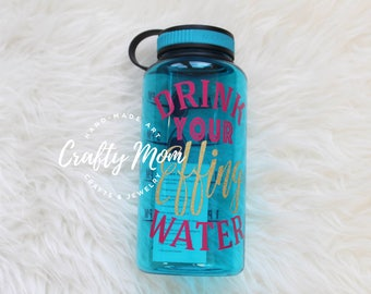 Drink Your Effing Water Wide Mouth Water Bottle in Blue 34oz