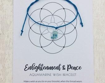 Aquamarine bracelet, Wish bracelet, March birthstone, yoga lover gift, yoga retreat favour, yoga bracelet, healing crystals, boho gift ideas