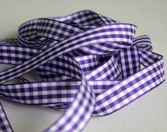 "3/8"" bobine de ruban en Vichy - violet et blanc - 25 mètres - 27,34 yards"
