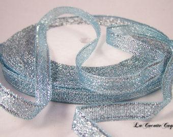 Blue glittery organza color ribbon / silver 6 mm x 1 m