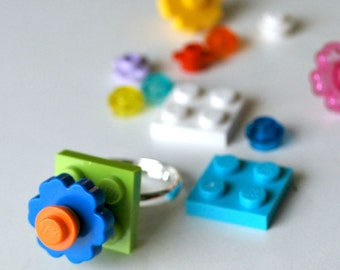 Play Day Lego Ring in Lime Green - Build Your Own Lego Jewelry - Flower - Upcycled - Kid Jewelry - Tweens