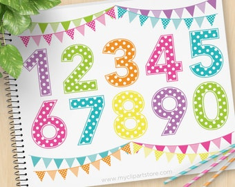 Polkadot Numbers, Polka Dots, Boy or Girl Birthday, Dotted Numbers, Candy Alpha, 1 2 3, Sweet 16, Commercial Use, Vector clip art, SVG Files