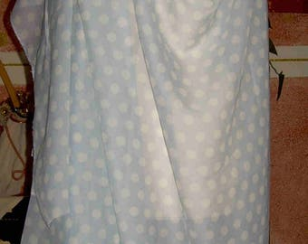 100% Blue polka dot silk chiffon