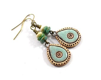 Handmade Earrings, Stoneware Turquoise Earrings, Artisan Earrings, Boho Chic Earrings, Brass Earrings, Czech Glass Earrings, AE067