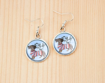 Dachshund dog round earrings glass picture art present gift idea christmas birthday breed pet