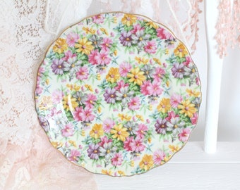 Vintage, Porcelain Bread and Butter or Dessert Plate by Lipper & Mann, Creations Japan, Chintz Pattern, Gifts for Her, Replacement Ca. 1947+