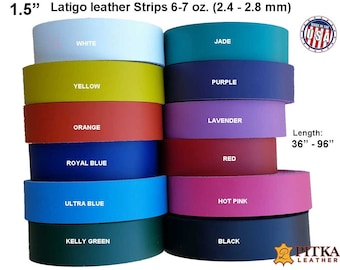 1.5 Inch Wide Leather Strips - Leather Strips  Latigo  6-7 oz (2.4-2.8 mm) - Leather  Strips up to 96 inch Long  for Belts, Craft projects