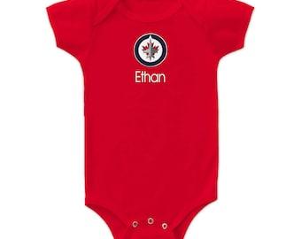 Jets baby etsy personalized winnipeg jets baby bodysuit red negle Choice Image