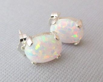 White Opal Earrings, Sterling Silver Opal Earrings, Post Earrings, Gift For Her, Bridesmaid Gifts, Studs, Opal Earrings, Silver Earrings