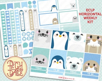Arctic Animals Weekly Kit Planner Stickers | Erin Condren Horizontal | Seals | Penguins | Polar Bears | Walrus