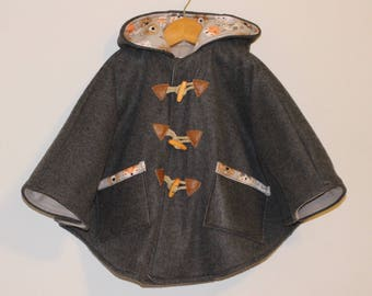 Made to order car seat poncho, gray forest animals.
