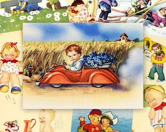 Children ATC ACEO cards Digital Collage Sheet for Scrapbooking Altered Art Victorian Style / AC62