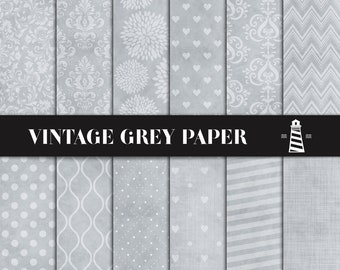 Vintage Gray Digital Paper, Distressed Grey Scrapbooking Paper, Textured Backgrounds, Printable Mixed Patterns, Coupon Code: BUY5FOR8