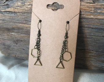 Honeycomb and Triangle Drop Pendant Earrings