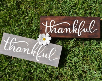 SALE Thankful | Hand Painted Hand Lettered Wood Décor