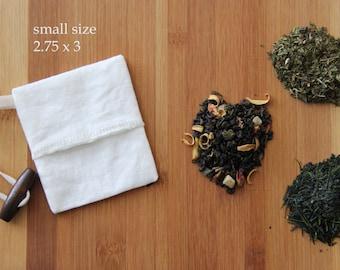 Reusable Tea bag - set of 2 - Organic cotton and hemp muslin fabric - Ecofriendly - Cotton cord - small tea bag size