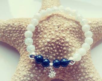 White / Navy Blue beaded bracelet with ship wheel charm