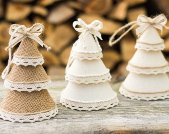 Christmas Tree Ornaments, Burlap Decor, Holiday Decorations, Rustic Home Decor, Family Gift