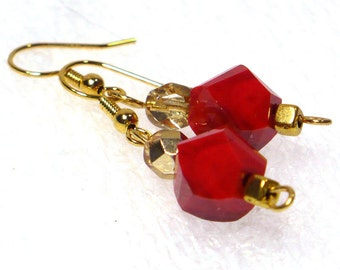 Red & Gold Dangle Earrings: Bold Red Earrings on Nickle-Free Gold Plated Ear Wires, Handmade in the USA, Gift for Her